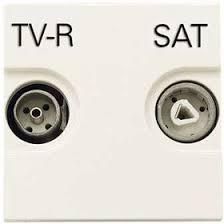 <b>Розетка TV</b>-<b>R</b>-<b>SAT</b> 2мод. <b>Zenit</b> с накладкой бел. <b>ABB</b> ...