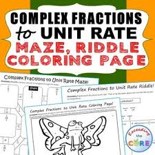 COMPLEX FRACTIONS to UNIT RATE Maze  Riddle  Coloring Page ve your students apply their Pinterest