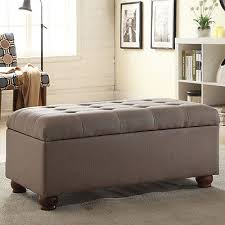 storage bench for living room: grey tufted storage bench ottoman seat foot stool living room furniture