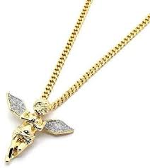 Mens 18K <b>Gold</b> Plated Hip Hop Iced Out <b>Angel</b> Pendant Necklace ...