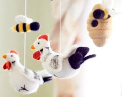 chicken and bees baby mobile needle felted baby mobile farm animals baby crib mobile nursery decor baby shower gift baby nursery cool bee animal