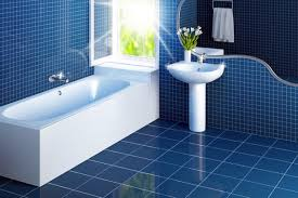 blue bathroom tile ideas:  white bathroom interiors on blue ceramic floor and