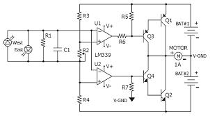 circuit diagram for the lm339 quad comparator based sun tracker circuit diagram for the lm339 quad comparator based sun tracker