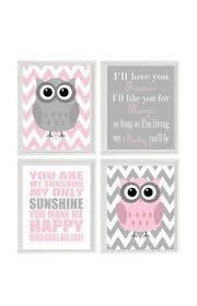 grey owl chevron wall art nursery art owl print set you are my sunshine quote owls gray pink che