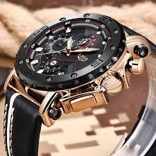 LIGE <b>Top Brand Luxury</b> Big Dial Military Quartz Watch Leather ...