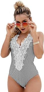 Blooming Jelly Women's <b>Vintage</b> One <b>Piece</b> Swimsuit <b>Lace</b> Tummy ...