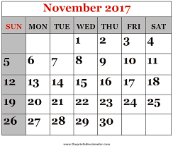 Image result for November 2017 Printable Calendar | Holidays November 2017 Printable Calendar: