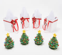 Mr. <b>Christmas Set of 4</b> Lit Nostalgic Tree Ornaments with Gift Bags ...