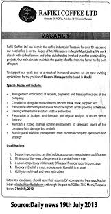 finance manager tayoa employment portal rafiki coffee cover letter gallery of finance manager job description