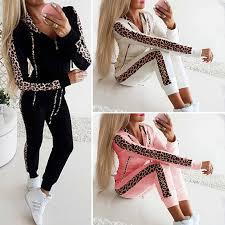 <b>Women</b> Tracksuit Hoodie Pullover Sweatshirt Pants <b>Set Gym</b> Wear ...