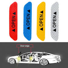 <b>4Pcs Car</b> Door Stickers Safety <b>Reflective</b> Tape <b>Open</b> Sign Warning ...