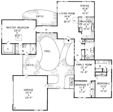 Courtyard With Pool   House Plan Hunters    Courtyard With Pool   House Plan  Plan No  Main Floor Plan