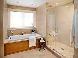 ideas bathroom tile color cream neutral: bathroom neutral theme for bathroom remodel ideas with brown wood bathub under big white window