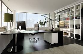 wonderful black and white themed modern home office interior design with desk swivel chair pendant light table lamp bookshelves large window plant area rug captivating office interior decoration