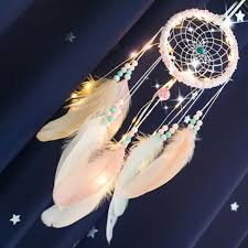 Girl Heart Dream Catcher with Light National Feather Ornaments ...