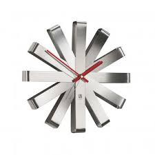 <b>Часы настенные Ribbon</b>, <b>стальные</b> с нанесением логотипа ...