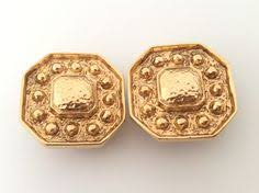 <b>Yves Saint Laurent</b> * Authentic Vintage <b>YSL</b> Round Clip On Earrings ...