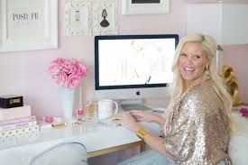 pink white office chic white home