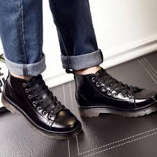 Retro <b>Men's Shoes British Leather</b> Martin Boots <b>Men's</b> Flat Boots ...