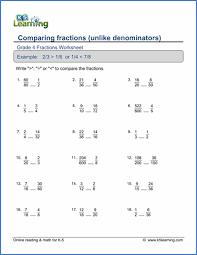 Grade 4 Fractions Worksheets - free & printable | K5 LearningGrade 4 Fractions Worksheet comparing fractions (unlike denominators)