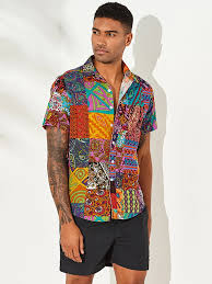 <b>Mens</b> Cotton Multi Color Ethnic Floral <b>Printed Casual Shirt</b> Material
