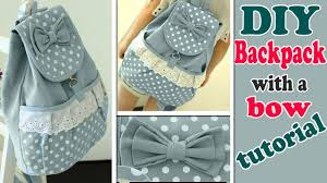 DIY <b>BACKPACK</b> TUTORIAL • CUTE WITH POCKET & BOW - YouTube