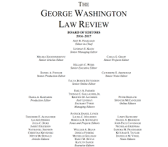 masthead the george washington law review vol 85 ed board