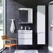 <b>Зеркальный шкаф с подсветкой</b> 65 см, правый, белый глянец ...