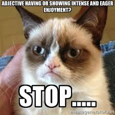 adjective having or showing intense and eager enjoyment? Stop ... via Relatably.com