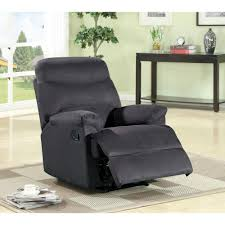 microfiber 1 piece recliner chair in black s6019 the home depot cbe heated cooled chair