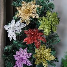 Zeus <b>5Pcs Glitter</b> Hollow <b>Artificial</b> Christmas Flower Ornament Xmas ...