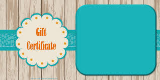 printable gift certificate templates gift certificate a light wood background and a blue green ribbon customize