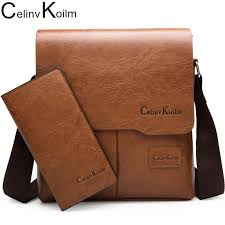 <b>Celinv Koilm</b> Man Messenger Bag 2 Set Men Leather Shoulder ...