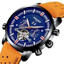 <b>KINYUED</b> Blue Calendar <b>Automatic Mechanical</b> Watches <b>Mens</b> ...