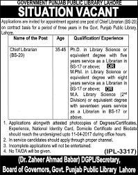 new jobs in govt punjab public library lahore