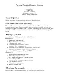 personal assistant resume examples  tomorrowworld copersonal