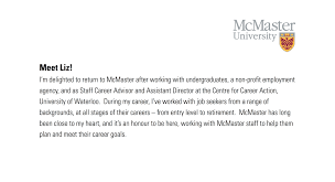mcmaster university mcmaster employee career services about us meet liz