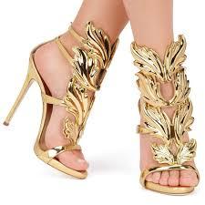 <b>Hot Sale</b> Golden Metal Wings Leaf Strappy Dress Sandal Silver Gold
