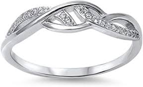 Infinity Knot Clear CZ Promise Ring <b>New</b> .<b>925 Sterling Silver</b> Band