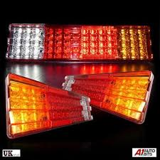 Pair Of 24v <b>Rear</b> Stop <b>70 Led</b> Lights Indicator Fog Lamp Trailer ...