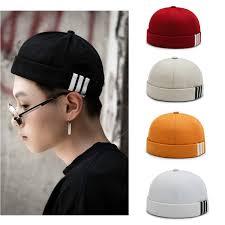 Sailor Cap Brimless <b>Hat</b> Docker <b>Hat</b> Vintage Melon Cap <b>Pure Cotton</b> ...