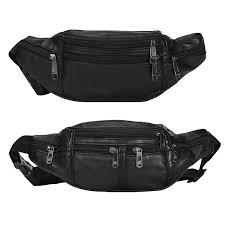 Leather Zip Pockets <b>Classic</b> Casual Walk Travel Fanny <b>Waist Pack</b> ...