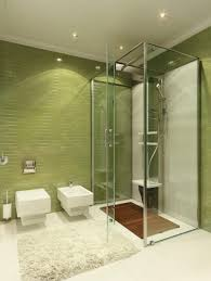 nice modern pop art style apartment bathroom interior ideas with green tile and nice shower and ceiling wall shower lighting