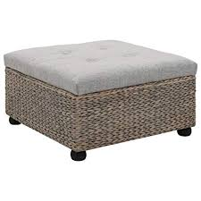<b>Ottoman Seagrass 65x65x40 cm</b> Grey Furniture Foot Rests: Amazon ...