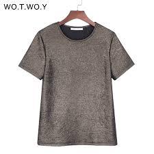 WOTWOY <b>Summer Shiny Lurex Tops</b> Women Basic T Shirt Casual ...