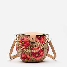 The Honeypot Basket with <b>Embroidered</b> Poppy <b>Flowers</b> - Designed ...