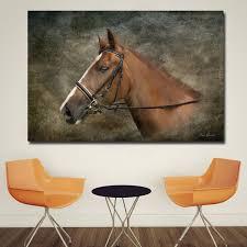 2019 <b>1 Panel</b> HD Prints Pictures Wall Art <b>Brown Horses</b> Head Gray ...