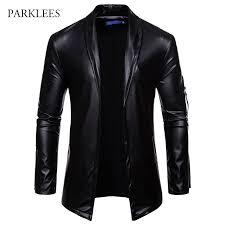 Brand Black <b>PU</b> Leather Suit Blazer <b>Men</b> Slim Fit Solid Color ...