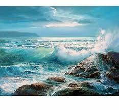 Sea Waves Diamond Painting 5D DIY <b>Full Square Round</b> Drills ...