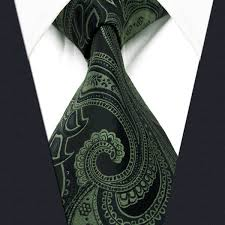 Y30 Deep <b>Green Paisley</b> Silk Jacquard Woven Classic <b>Fashion</b> ...